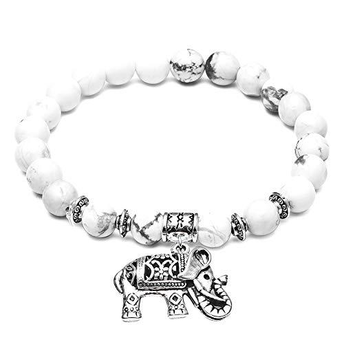 JUNGEN Elastische Sicke Armkette 24 Perlen Armbänder mit Elefant Anhänger Damen Vintage Armreifen Schmuck