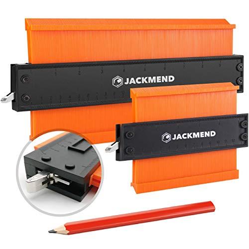 JACKMEND 2-in-1 Konturenlehre - 5 & 10-Zoll, mit Metallschloss - Vervielfältigungslehre, Messwerkzeug für Ecke, Boden, Kante & Winkel - Rücken aus Aluminiumlegierung, Zähne aus hochdichtem ABS