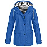 Fankle Solid Jacket for Women Zip Up Striped Plus Size Button Drawstring Outerwear Waterproof Coats Windbreaker with Pockets(H#Blue,3X-Large)