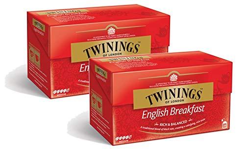 Twinings English Breakfast Tee, Schwarzer Tee, Teebeutel, Teeblätter aus den besten Teegärten von Indien und Sri Lanka, intensiver Schwarztee, 2er Pack je 25 teabags (2 x 50 g)