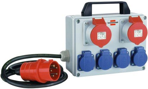 Brennenstuhl Kompakter Kleinstromverteiler BKV 2/4 T IP44 / Baustromverteiler mit Tragegriff (2m Kabel, für ständigen Einsatz im Außenbereich IP44, Made in Germany)