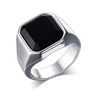 OIDEA Edelstahl Ringe für Herren Damen, Vintage Achat Stein Ringe Edelstahlring Herrenring Ringgrößen 57 (18.1)