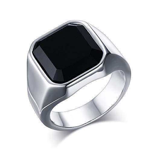 OIDEA Edelstahl Ringe für Herren Damen, Vintage Achat Stein Ringe Edelstahlring Herrenring Ringgrößen 54 (17.2)