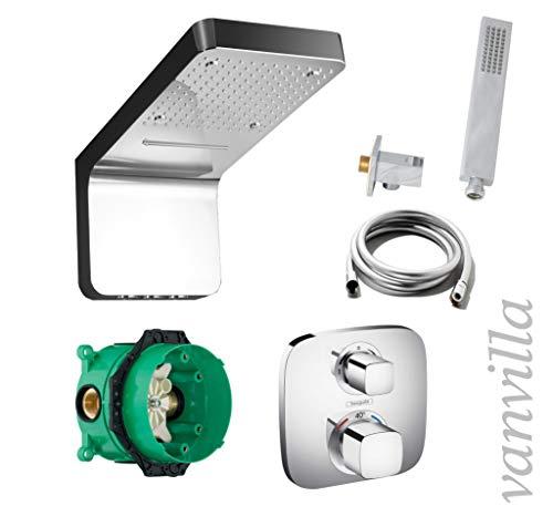 Vanvilla Hansgrohe Ecostat E HG31 - Conjunto de ducha con grifo empotrado, termostato y cabezal de ducha con chorro y niebla pulverizadora, acabado pulido