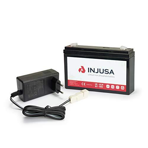 INJUSA - Batería de Litio y Cargador de 6V con Autonomía de 2 h 35 min y Tiempo de Carga de 3 h 45 min Compatible con Productos 6v