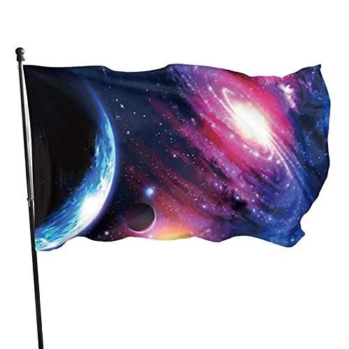 Bandera de jardín Galaxy Planet Color Vivo y Resistente a la decoloración UV Bandera de Patio de Doble Costura Bandera de Temporada Banderas de Pared 150X90cm