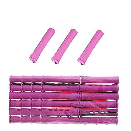 40 Pcs Self Grip Holding Bigoudis Rouleaux Ensemble Avec Couvercle Bangs Cheveux Rouleaux Perm Tiges pour Salon De Coiffure DIY Usage Domestique (Violet-1,9 cm)