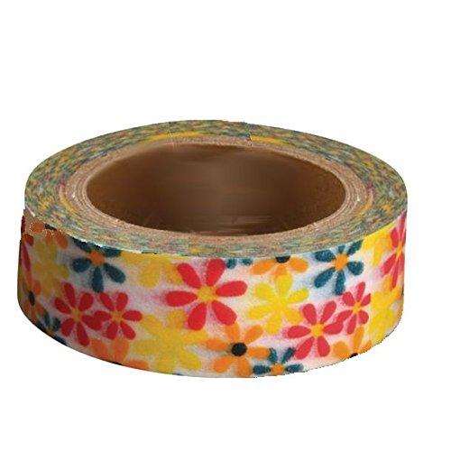 RAY - Washi Tape Blanc Fleurs Multicolores