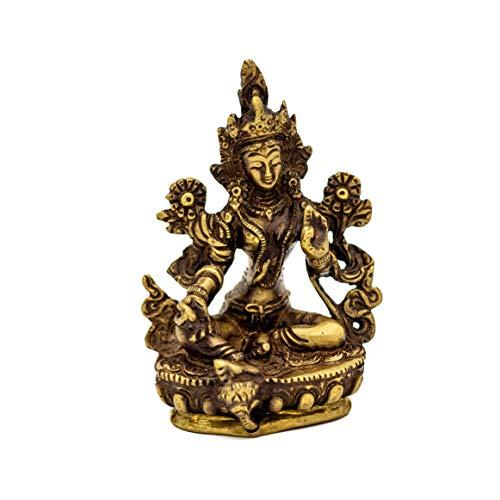 dsnetz Grüne Tara Figur Messing 9,5cm | tibetische Bodhisattva weiblicher Buddha auf Lotusthron Dekofigur | Statue Shyama-Tara Schützerin | Esoterik Geschenke günstig online kaufen