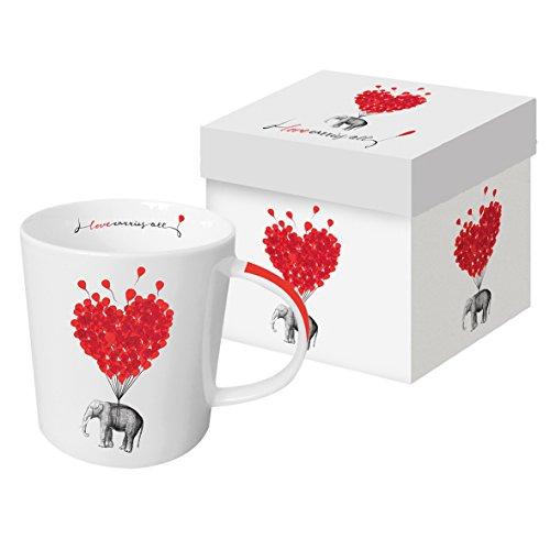 PPD Love Carries All Trend Kaffeebecher, Kaffeetasse, Kaffee Becher, New Bone China, Weiß / Rot, 350 ml, 603273