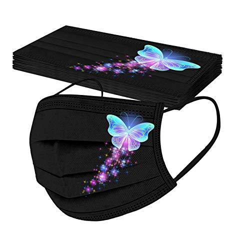 YpingLonk 10pc Unisex Adulto Protector Bufanda -Moda desechable Universal Mariposa Impreso elástico Earloop pañuelo Bandanas para Mujeres hombres-21113-62