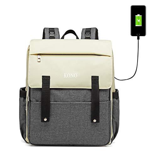 Kono Nappy vervangende rugzak met USB-poort grote luiertassen multifunctionele waterdichte kraamrugzak rugzak M Grijs