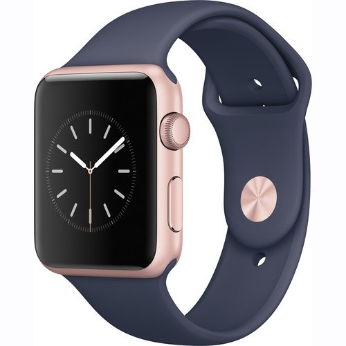 detailed look 84858 7e1b7 Apple Watch Series 1 Smartwatch 42mm, Rose Gold Aluminum Case/Midnight Blue  Sport Band (Newest Model) (Renewed)