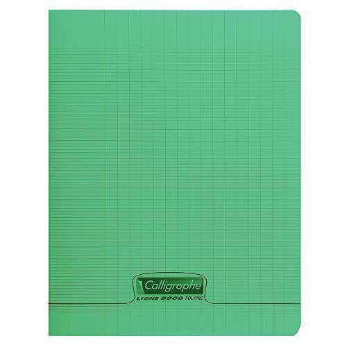 Calligraphe 18175C - Un cahier piqué (gamme 8000 de Clairefontaine) 48 pages 24x32 cm 90g grands carreaux, couverture polypro (plastique), Vert