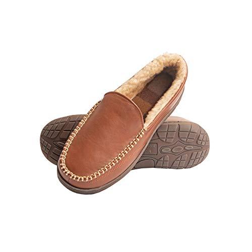 Heat Edge Mens Memory Foam Slip On Indoor Outdoor Venetian Moccasin Slipper Shoe (X Large, Tan)