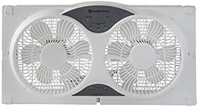 Comfort Zone CZ310R 3-Speed 3-Function Expandable Reversible Twin Window Fan with Remote Control, Removable Cover