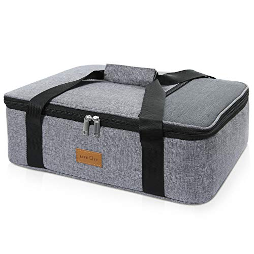 Lifewit Insulated Casserole Dish Carrier Thermal Lasagna Lugger for Potluck Parties/Picnic/Beach, Lunch Bag to Keep Food Hot/Cold, 16.3 x 12.6 x 4.7, Grey