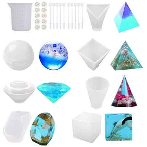huyiko Moules en Résine pour Artisanat Kit De Moules en Silicone pour La Coulée De Résine Epoxy Résine UV Sphere Pyramid Cubic Diamond Triangular Pyramid Stone Cone Mould