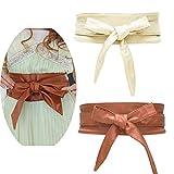 Jurxy 2 Paquetes Bowknot De Las Mujeres Cinturón Ancho de la Banda de la Cintura de la PU Cinturón de Lazo para Mujer Cuero sintético Estilo OBI Cinturones Boho Corset - Beige y Cafe