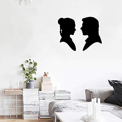 WERWN Etiqueta engomada de la Pared calcomanía romántica Amor Pareja Silueta Vinilo Etiqueta de la Pared Arte diseño Moderno decoración del hogar Dormitorio cabecera Cartel 42 * 54 cm