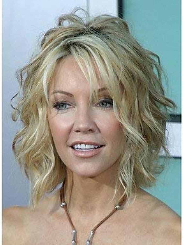 Perruque synthétique de femmes 'moyen bouclé lumière dorée en surbrillance cheveux Balayage perruques naturelles costume de perruque de célébrité perruque