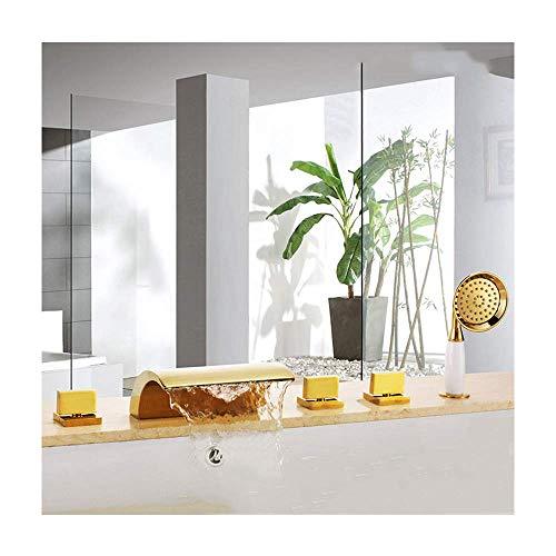 Grifo de bañera en cascada con agua fría y caliente, juego de grifos de bañera de latón para montaje en cubierta, multifuncional, 3 manijas, 5 agujeros, grifos mezcladores de ducha con ducha de mano