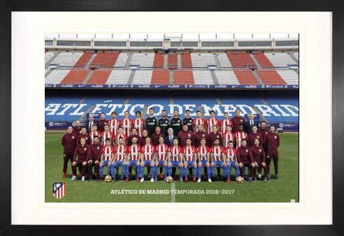 1art1 Fútbol Atletico De Madrid 2016/2017 Plantilla Póster (91 x 61cm) con Marco MDF (120 x 80cm)