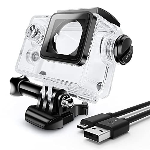 ウェアラブルカメラ汎用式 オートバイ用 防水ハウジングケース 常時給電充電ケーブル同梱 バイク/車アクセ...