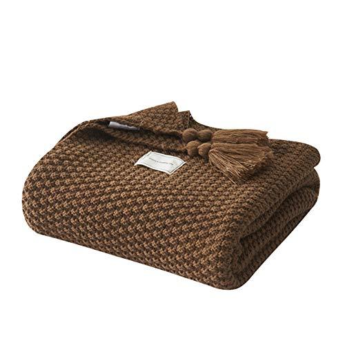 HYMY Soft Fluffy Throws Decken Nordic Quaste Büro Klimaanlage Mittagspause Sofa Freizeit-Decke für Sofa/Stühle/Bett (Color : Brown, Size : XL)