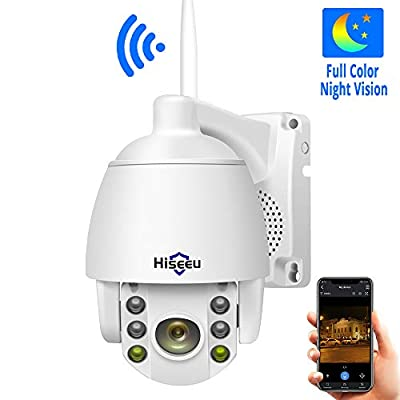 1080P HD Outdoor Wireless Security Camera Pan Tilt Zoom (5X Digital) Compatible Hiseeu Wireless Security Camera System PTZ Camera Two-Way Audio Waterproof Dome Motion Detection Night Vision