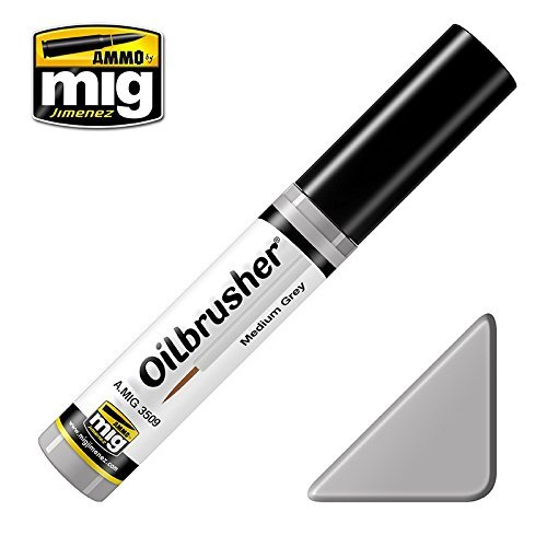 Ammo of Mig Oilbrusher Medium Grey - Oil Paint with Fine Brush Applicator #3509