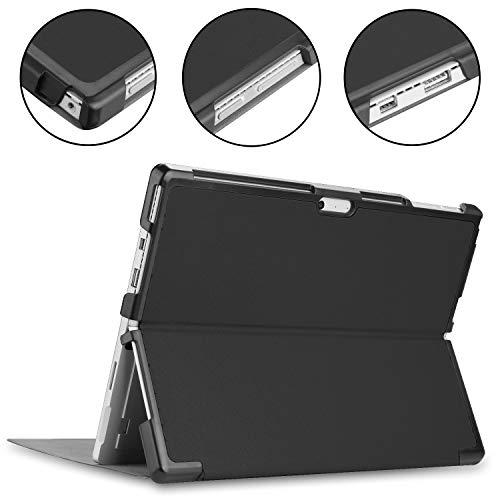 Kepuch Custer Hülle für Surface Pro 7 6 5 4,Smart PU-Leder Hüllen Schutzhülle Tasche Case Cover für Surface Pro 7 6 5 4 - Schwarz