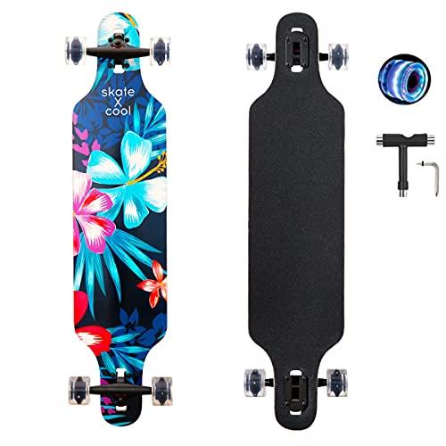 Longboard 41Zoll,Dance longboards Complete Board geeignet für Mädchen anfänger Erwachsene mit ABEC-11 Kugellagern und PU-LED-Räder (Blue-Flower)