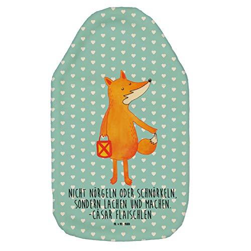 Mr. & Mrs. Panda Kinderwärmflasche, Körnerkissen, Wärmflasche Fuchs Laterne mit Spruch - Farbe Türkis Pastell