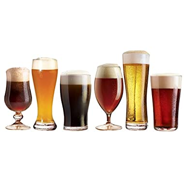 Luminarc Assorted Craft Brew Beer Glasses (Set of 6),, Clear