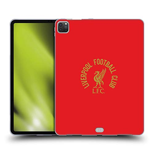 Official Liverpool Football Club Gold LFC On Red Liver Bird Soft Gel Case Compatible for Apple iPad Pro 12.9 (2020)