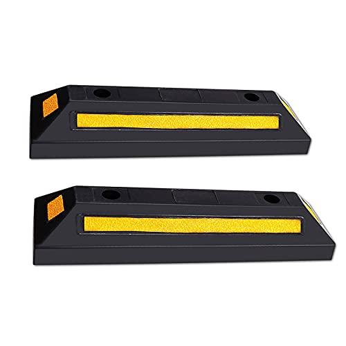 ZTIAN Tope De Estacionamiento De Goma ,Utilizado para Estacionamientos Comerciales Y Familiares Y Estacionamiento En Garajes Privados, Negro Y Amarillo, (2 por Paquete)-56 * 16cm