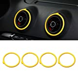NO LOGO WSF-AIR Outlet, 4pcs AC Klimaanlage Vent Outlet Ring Ersatz Deckel Trim gepasst for Audi A3 S3 2014 2015 2016 Car Styling (Farbe : Gelb)