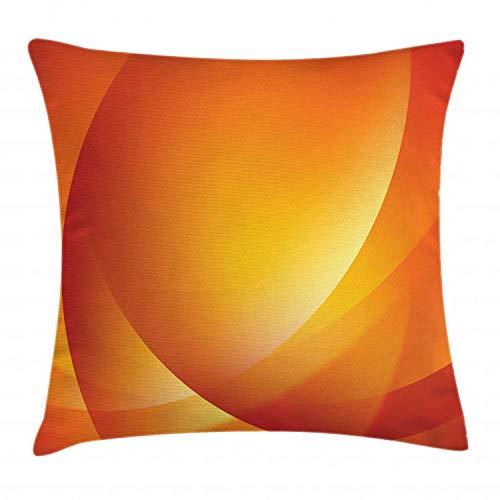 ABAKUHAUS Orange Kissenbezug, Bunte Vertikale Linien, 40 x 40 cm, Digitaldruck Wasser Resistent Farbfest mit versteckten Reißverluß und Waschbar, Dunkelorange Gelb