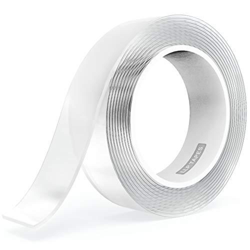LLPT Nano cinta de doble cara 2,5 cm x 10 m Cinta de montaje resistente Cinta de gel resistente Cinta transparente lavable sin residuos para la decoración de la tienda de oficina en casa (SN133)