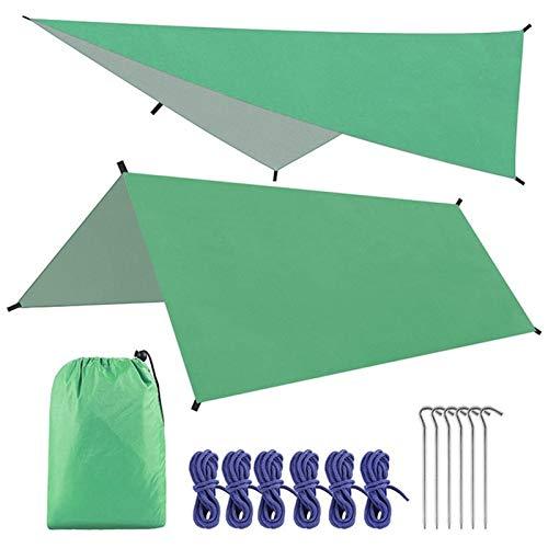 Rfgfd Lona de camping 3 * 3 m impermeable hamaca lluvia mosca tienda lona portátil refugio toldo toldo para pesca al aire libre camping senderismo (color verde)