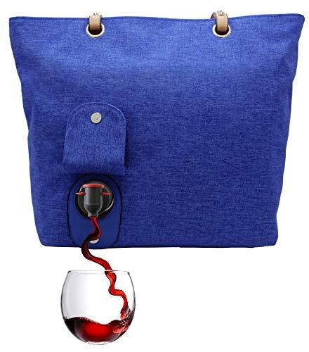PortoVino Weinhandtasche (Blau) - Modisch mit verstecktem, isoliertem Fach für 2 Flaschen Wein auf dem Weg!
