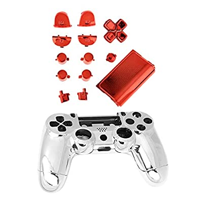 MagiDeal Chrome Full Replacement Controller Hydro Dipped Shell Mod Kit for PS4 Red from MagiDeal