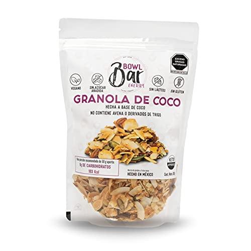 BOWL BAR - KETO-Granola de Coco 300 g - Super Food Vegana sin Glúten, SIN Lácteos o Azúcar Añadida - Hojuelas y Aceite de Coco, Almendras, Quinoa, Semilla de Calabaza y Miel de Agave