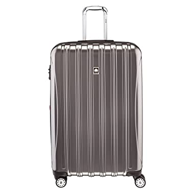 Delsey Luggage Helium Aero, Large Checked Luggage, Hard Case Spinner Suitcase, Titanium