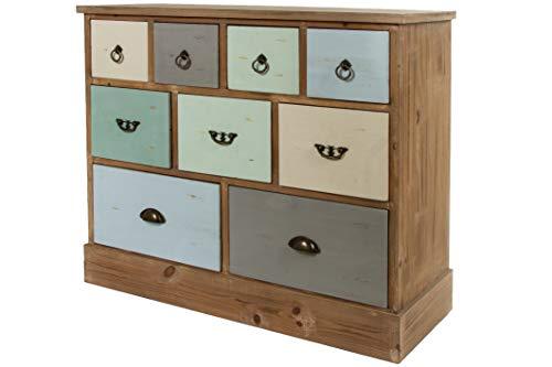 elbmöbel Cómoda ancha de madera multicolor, asas de metal, estilo rústico Shabby Chic con 9 cajones vintage