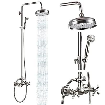 Brushed Nickel Brass Shower Fixture Set 8 Rain Shower Head 2 Double Knobs Cross Handle Shower Faucet Combo System Unit Set Dual Function