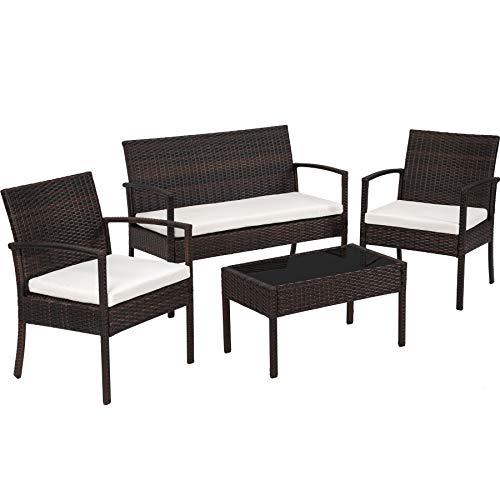 TecTake 800138 Poly Rattan Sitzgruppe, Gartenset mit 2 Stühlen, Bank + Tisch mit Glasplatte, Lounge Set für Garten, Terrasse und Balkon (Braun-Schwarz)