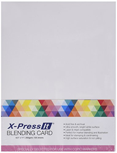 Copic Marker X-Press Blending Card 21,6 x 27,9 cm, 125 Stück pro Packung, weiß, andere, mehrfarbig