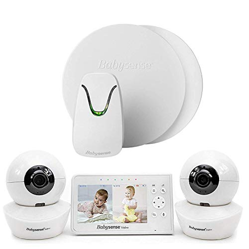 Babysense Video & Movement Baby Monitor - Bundle Pack - Babysense Video Baby Monitor V43 Split Screen with Two PTZ Cameras & Babysense 7 Under-The-Mattress Baby Movement Monitor - 2 in 1